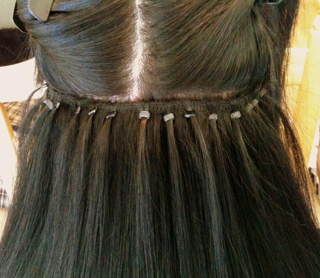 example of link weft hair extensions